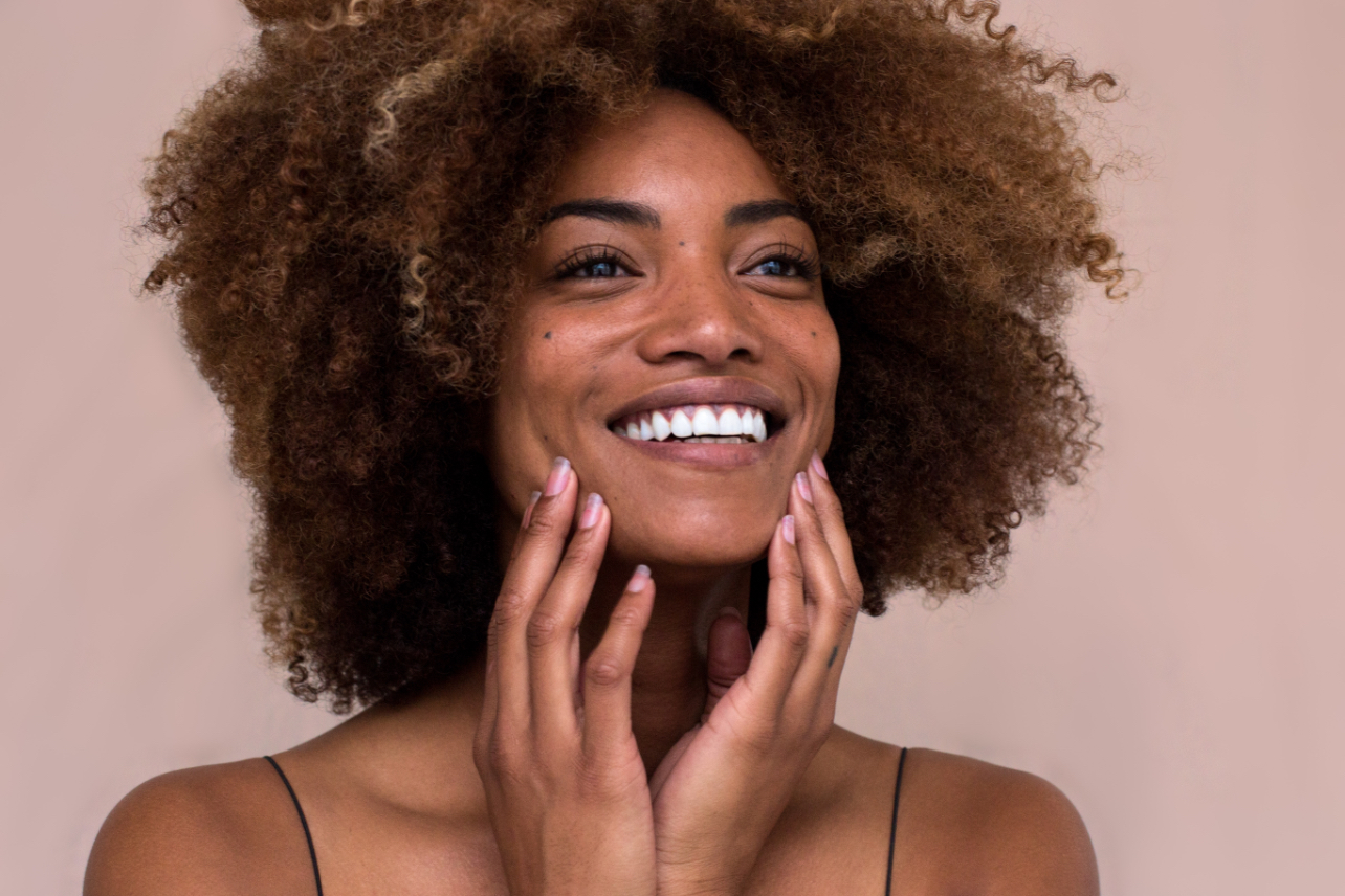 Afro American woman smiling