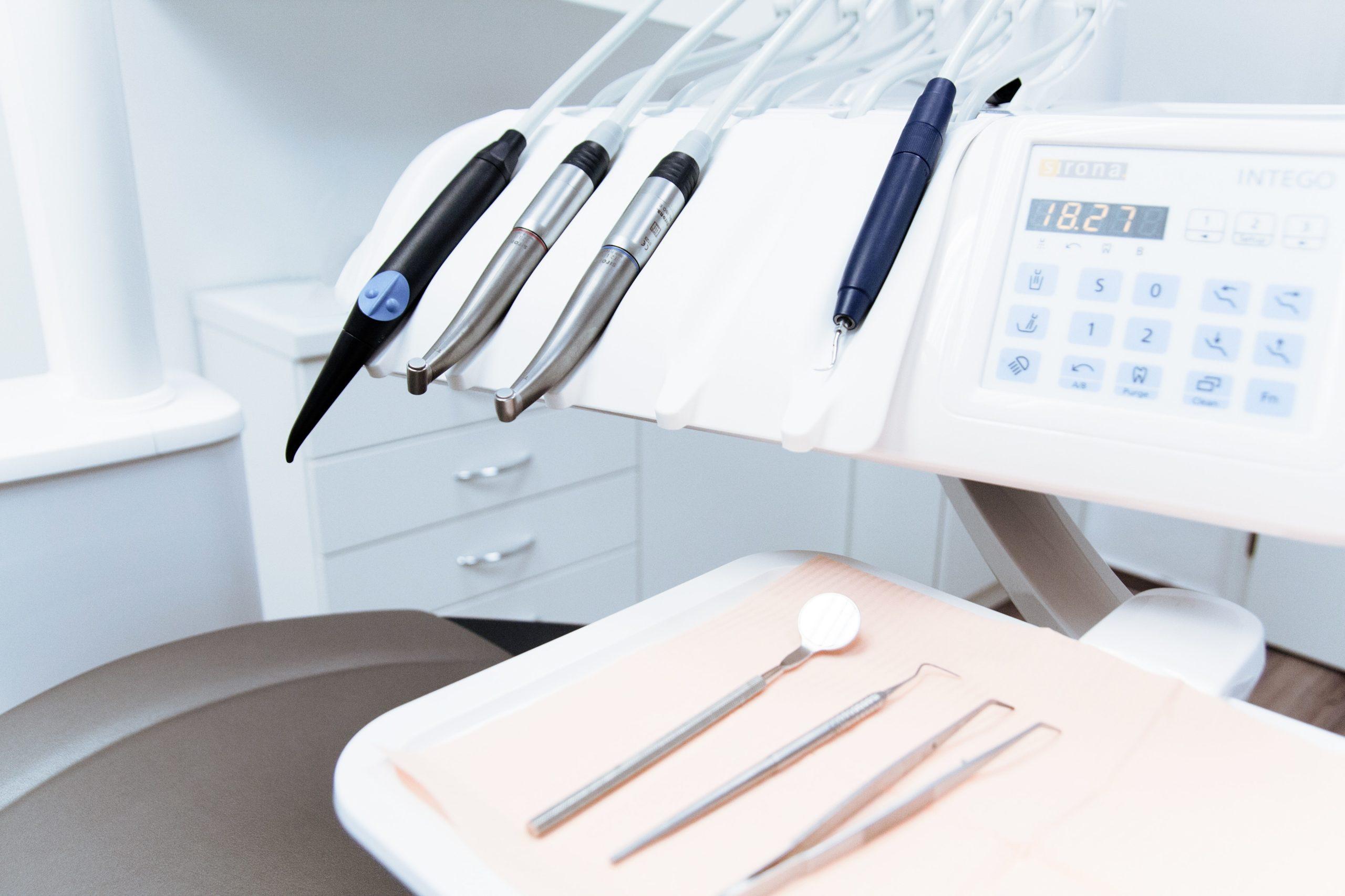 Closeup of dental equipment at a dental clinic